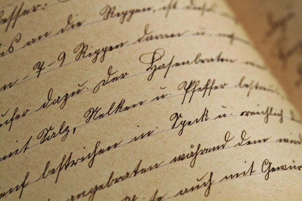 handgeschriebene deutsche Wörter