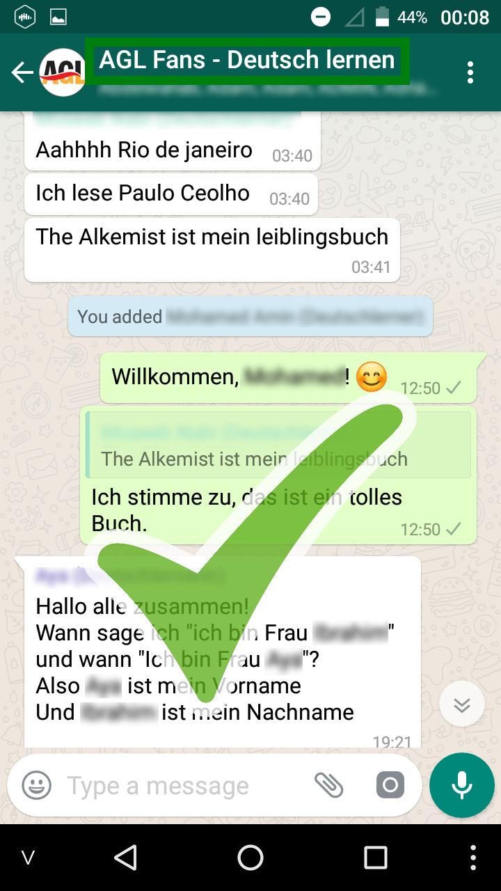 German WhatsApp group moderated by German native teacher